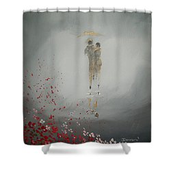 Walk In The Storm Shower Curtain by Raymond Doward