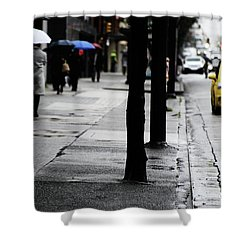 Walk Or Cab Shower Curtain by Empty Wall