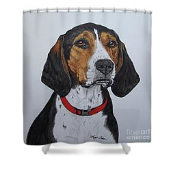 Walker Coonhound - Cooper Shower Curtain by Megan Cohen