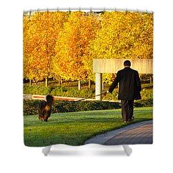 Walkies In Autumn Shower Curtain