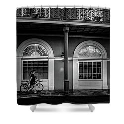 Walking A Bike In The French Quarter Bw Shower Curtain
