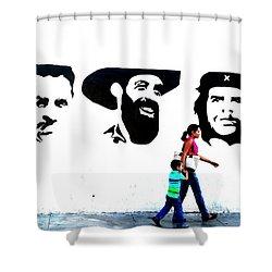 Walking A Revolution Wall In Havana Cuba  Shower Curtain