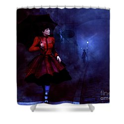 Shower Curtain featuring the digital art Walking After Midnight by Methune Hively