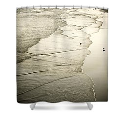 Walking Along The Beach At Sunrise Shower Curtain by Marilyn Hunt