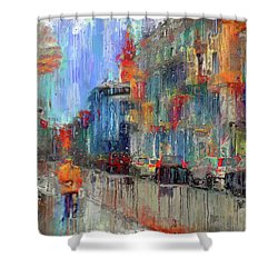 Walking Down Street In Color Splash Shower Curtain