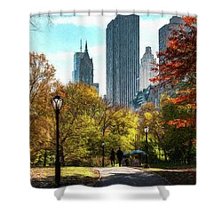 Walking In Central Park Shower Curtain