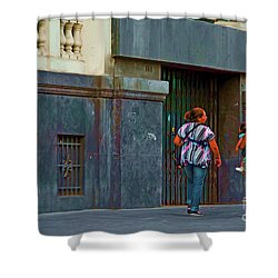 Shower Curtain featuring the photograph Walking In Lima, Peru by Mary Machare