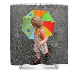 Walking In The Rain Shower Curtain by Sami Martin
