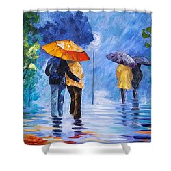 Walking In The Rain Shower Curtain