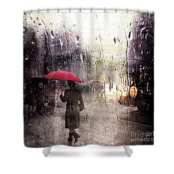 Walking In The Rain Somewhere Shower Curtain