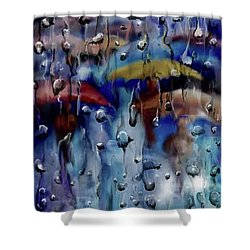 Shower Curtain featuring the digital art Walking In The Rainfall by Darren Cannell