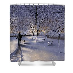 Shower Curtain featuring the painting Walking In The Snow by Veronica Minozzi