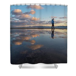Walking In The Sunset Shower Curtain