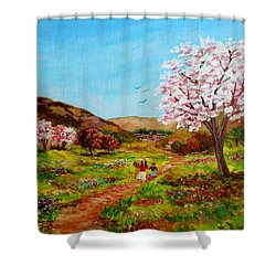 Walking Into The Springfields Shower Curtain by Constantinos Charalampopoulos
