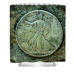 Shower Curtain featuring the digital art Walking Liberty Half Dollar Obverse by Randy Steele