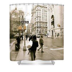 Walking New York Shower Curtain by Michael Peychich