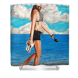 Walking On The Beach - Caminando Por La Playa Shower Curtain