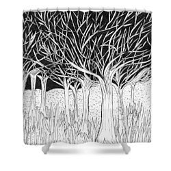 Walking Out Of The Woods Shower Curtain by Lou Belcher