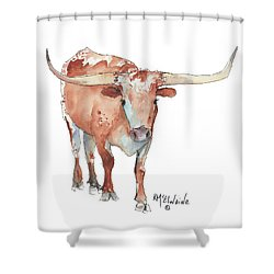 Walking Tall Texas Longhorn Watercolor And Ink By Kmcelwaine Shower Curtain by Kathleen McElwaine