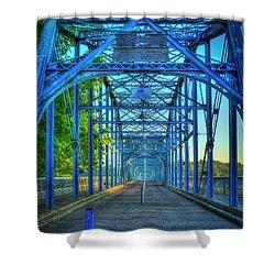 Walking Tall Walnut Street Pedestrian Bridge Art Chattanooga Tennessee Shower Curtain by Reid Callaway
