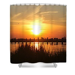 Shower Curtain featuring the photograph Walking The Bridge At Sunset by Robert Banach