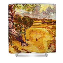 Walking The Dog After Gainsborough Shower Curtain by Mark Jones