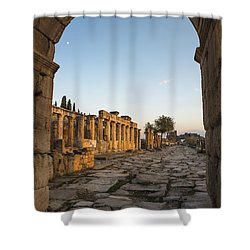 Shower Curtain featuring the photograph Walking The History In Hierapolis by Yuri Santin