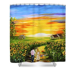 Walking Through The Sunflowers Shower Curtain