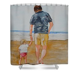 Walking With Pops Shower Curtain by Jean Blackmer