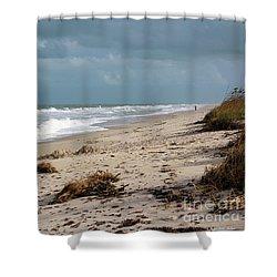Walks On The Beach Shower Curtain by Megan Dirsa-DuBois