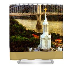 Walkway Over The Hudson - Our Lady Of Mount Carmel Church Steeple Shower Curtain by Janine Riley