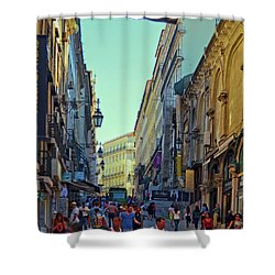 Shower Curtain featuring the photograph Walkway Over The Street - Lisbon by Mary Machare