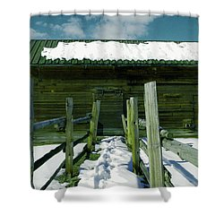 Shower Curtain featuring the photograph Walkway To An Old Barn by Jeff Swan