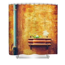 Shower Curtain featuring the photograph Wall Gutter Vase by Silvia Ganora