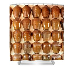 Wall Of Ceramic Jugs Shower Curtain by Yali Shi