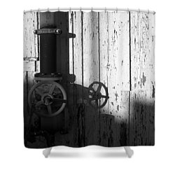Wall Pipe Shadows Shower Curtain by Catherine Lau