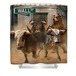 Wall Street -- Bull And Bear Markets Shower Curtain