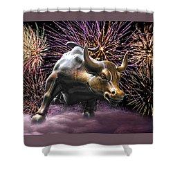 Wall Street Bull Fireworks Shower Curtain