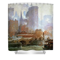 Wall Street Ferry Ship Shower Curtain by Colin Campbell Cooper
