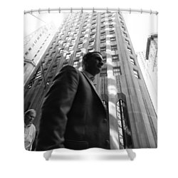 Shower Curtain featuring the photograph Wall Street Man II by Dave Beckerman