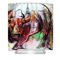 Wall Street New Money Shower Curtain by John Jr Gholson