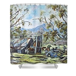 Wallace Hut, Australia's Alpine National Park. Shower Curtain