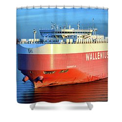 Shower Curtain featuring the photograph Wallenius Wilhelmsen Thermopylae 9702443 On The Patapsco River by Bill Swartwout Fine Art Photography