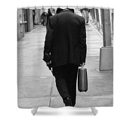 Shower Curtain featuring the photograph Wall Street Man by Dave Beckerman