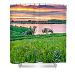 Shower Curtain featuring the photograph Wally Baskets Above Contra Loma  by Marc Crumpler