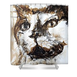 Shower Curtain featuring the mixed media Walnut And Charcoal by Mary Schiros
