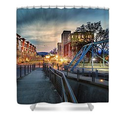 Walnut Street Circle Sunset Shower Curtain
