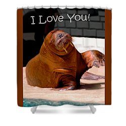 Walrus Loves You Shower Curtain by Bob Pardue