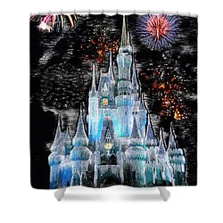Walt Disney World Frosty Holiday Castle Mp Shower Curtain