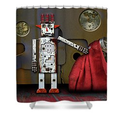 Walter Has A Surprise Shower Curtain by Joan Ladendorf